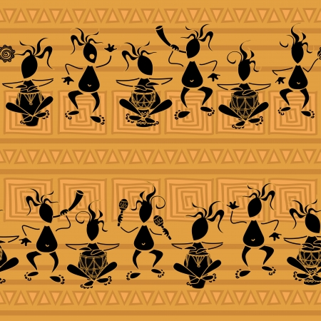Seamless pattern of African tribal musicians Vector