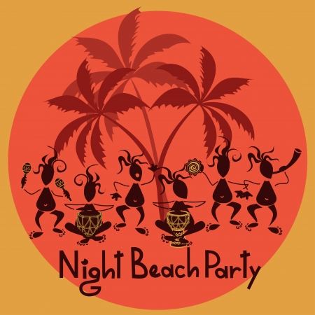 tiki bar: Funny invitation to night beach party with tribal band