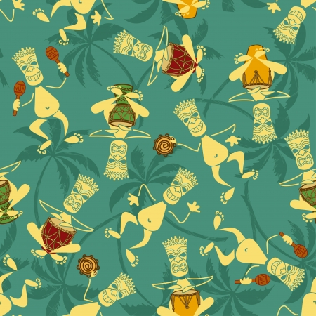 Seamless pattern of cartoon tribal musicians  Vector