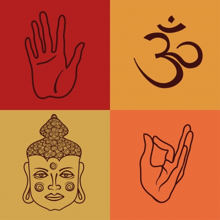 Colorful isolated icons or seamless pattern of buddhism attributes Vector