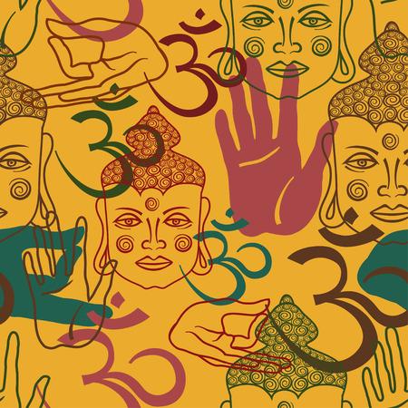 mano de dios: Patr�n transparente de Buda cara, om signo y palma de la mano