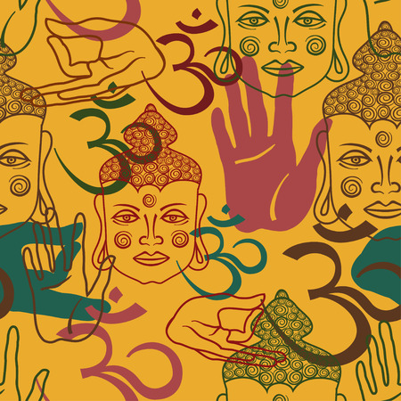 buddhists: Seamless pattern of Buddha face, om sign and palm hand Illustration