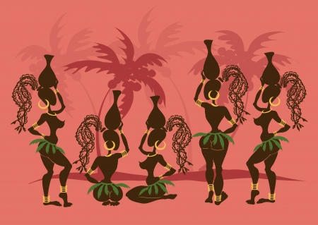 Isolated icons of sexy African tribal girls with crocks on the heads Vector