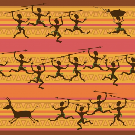 aborigines: Comic seamless pattern of hunting African aborigines