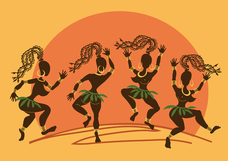 Illustration with funny dancing African aborigine girls at sunset Vector