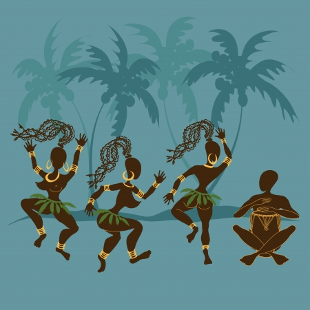 Illustration with dancing African aborigine girls and playing drummer Vector