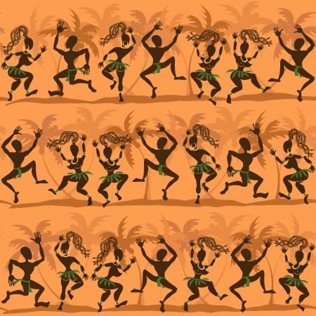 Seamless pattern of dancing wild African aborigines