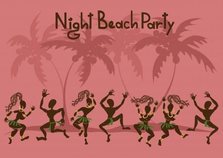 fiesta en la playa: Invitaci�n a una fiesta en la playa con el baile de los abor�genes africanos