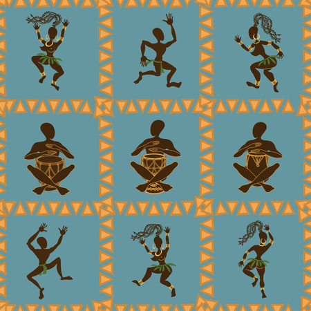 Seamless pattern of dancing African aborigines and drummers