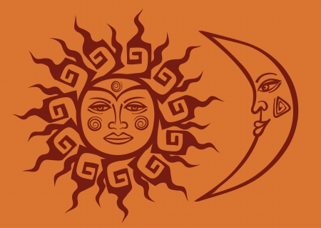 half moon: Isolated icon of tribal sun and crescent moon