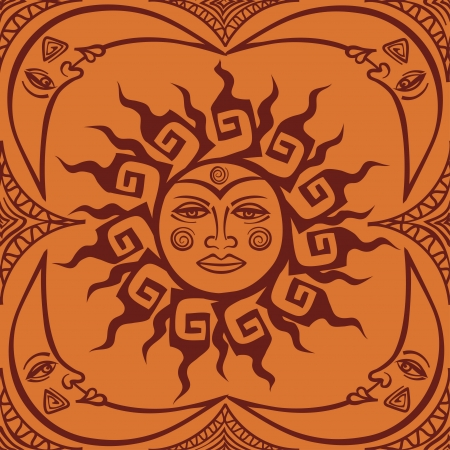 mythical: Tribal face of sun and crescent moon seamless pattern