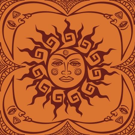 illustrazione sole: Tribali faccia del sole e della luna crescente seamless pattern
