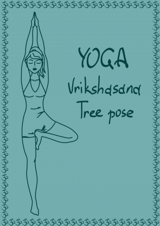 Illustration with outline slim girl in Tree yoga pose Stock Vector - 23499185