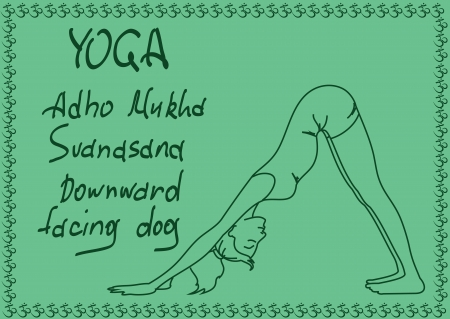 Illustration with outline slim girl in Downward Facing Dog yoga pose Vector