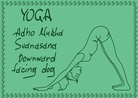 facing: Illustration with outline slim girl in Downward Facing Dog yoga pose