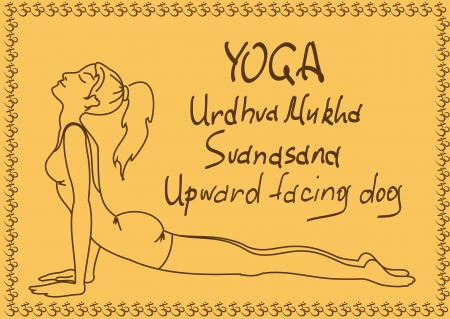 Illustration with outline slim girl in Upward Facing Dog yoga pose Vector
