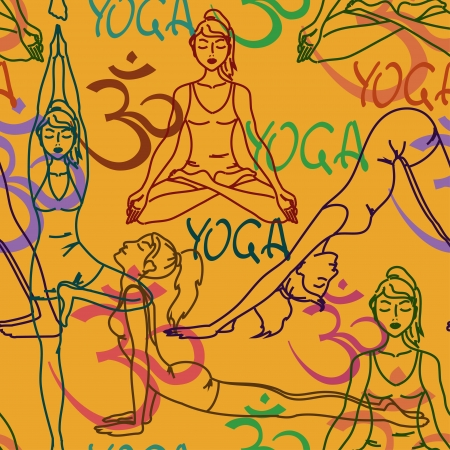 Seamless pattern of yoga poses and Om sign Vector