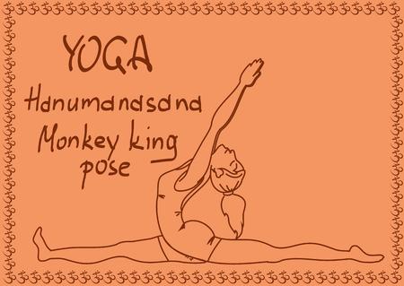 Illustration with outline slim girl in Monkey King yoga pose Stock Vector - 23499184
