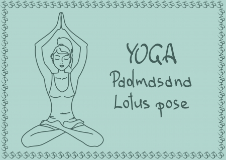 Illustration with outline slim girl in Lotus yoga pose Vector