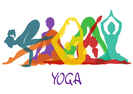 Illustration with seven colorful silhouettes of slim girl in yoga poses Ilustração