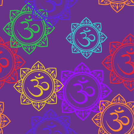 chakra symbol: Seamless pattern of colorful Om signs