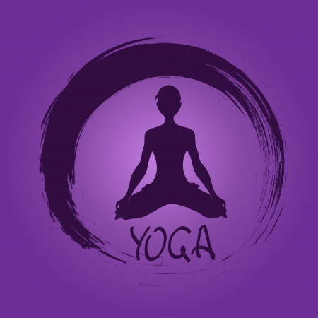 positions: Isolated yoga label with Zen symbol and Lotus pose