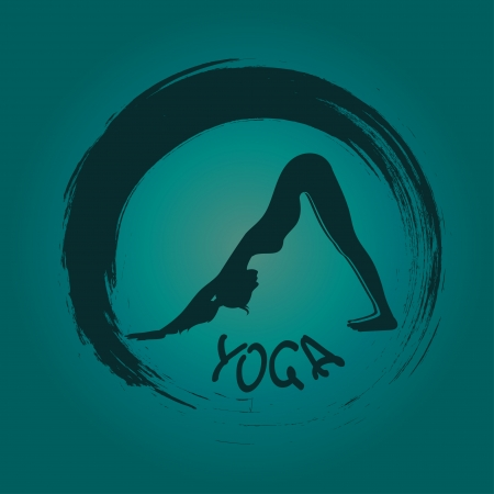 facing: Isolated yoga label with Zen symbol and Downward facing dog pose