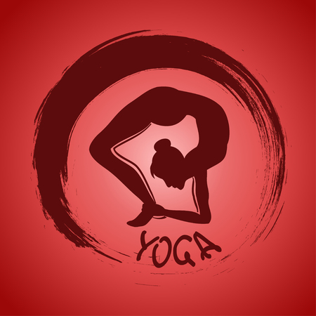 Isolated yoga label with Zen symbol and pose Stock Vector - 23499219