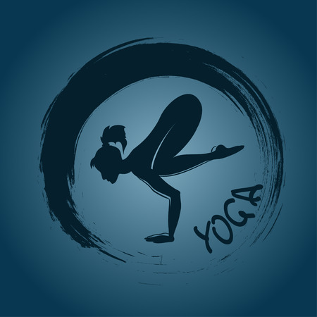 Isolated yoga label with Zen symbol and Crane pose Vector