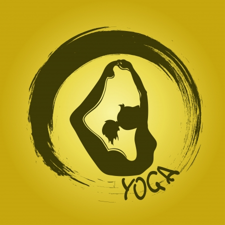 Isolated yoga label with Zen symbol and Bow pose Vector