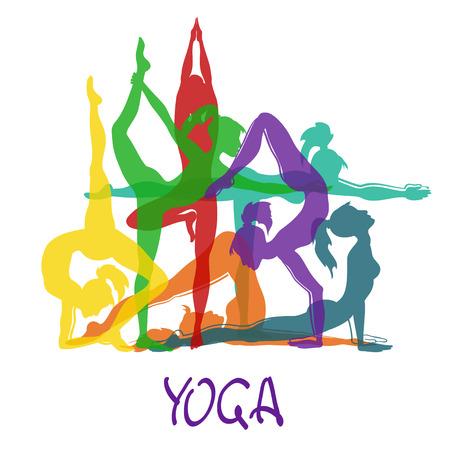 Illustration with seven colorful silhouettes of slim girl in yoga poses Иллюстрация