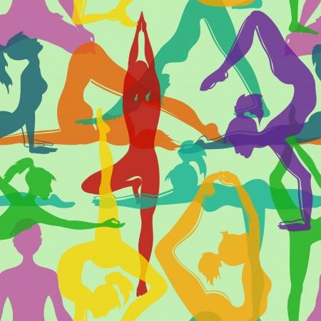 요가 포즈의 다채로운 원활한 패턴