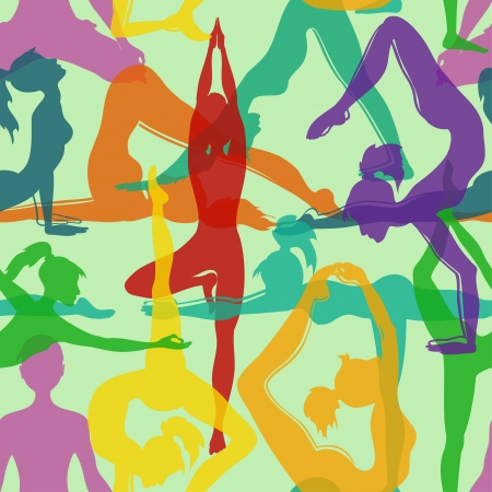 Colorful seamless pattern of yoga poses