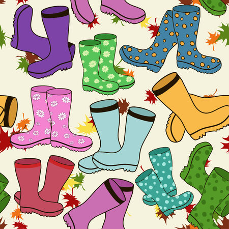 Seamless pattern of colorful gumboots Stock Vector - 23499247