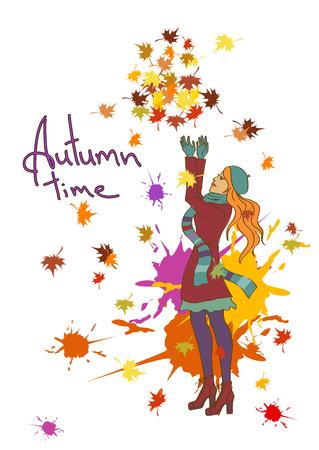 hintergrund herbst: Herbst Hintergrund mit sch�nen M�dchen werfen Bl�tter
