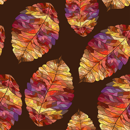 pied: Seamless pattern of colorful pied autumn leaves Illustration