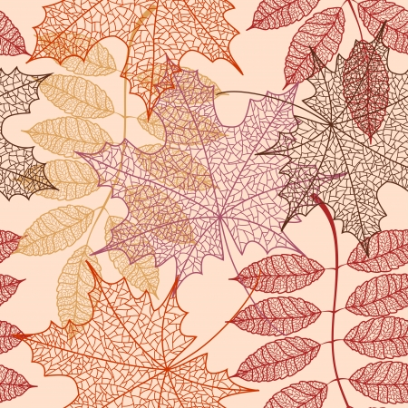 Seamless pattern of outline autumn leaves Vector