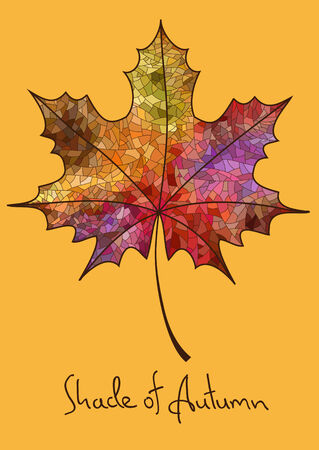 deciduous: Illustration with isolated autumn maple leaf made of colorful mosaic Illustration