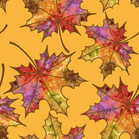 pied: Seamless pattern of colorful pied autumn maple leaves