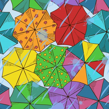 Top of colorful umbrellas seamless pattern Vector