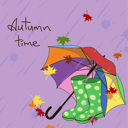 gumboots: Autumn background with umbrella and gumboots