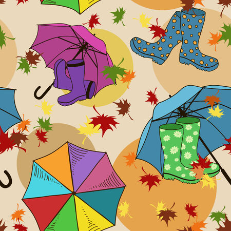 gumboots: Seamless pattern of colorful gumboots and umbrellas