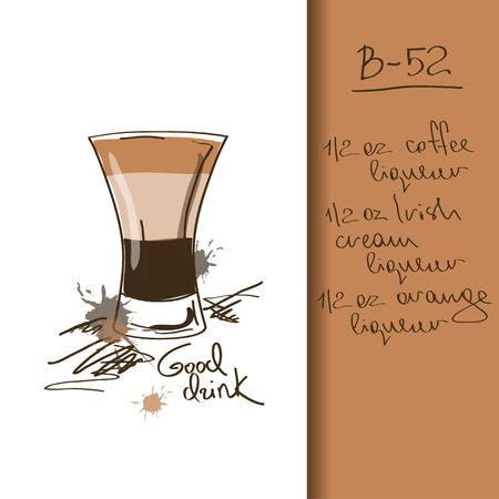 likeur: Illustratie met de hand getekende B-52 cocktail Stock Illustratie