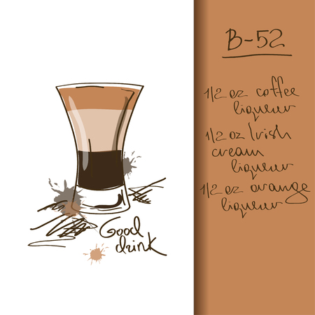 drink cartoon: Illustration with hand drawn B-52 cocktail
