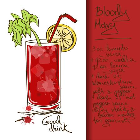 Illustratie met hand getrokken Bloody Mary-cocktail Stock Illustratie