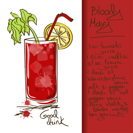 Illustration with hand drawn Bloody Mary cocktail Illustration