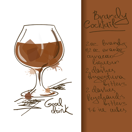 Illustration with hand drawn Brandy Cocktail