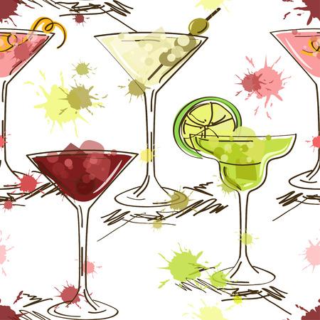 sappen: Naadloze patroon van hand getrokken levendige cocktails op een witte achtergrond