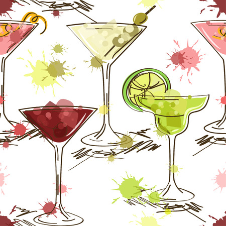 Seamless pattern of hand drawn vivid cocktails on a white background