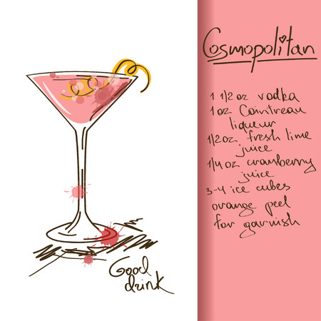 Illustration with hand drawn Cosmopolitan cocktail Vector